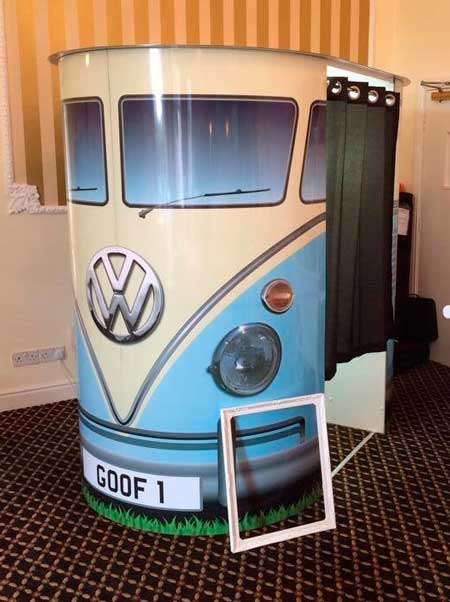 blue vw photo booth for hire
